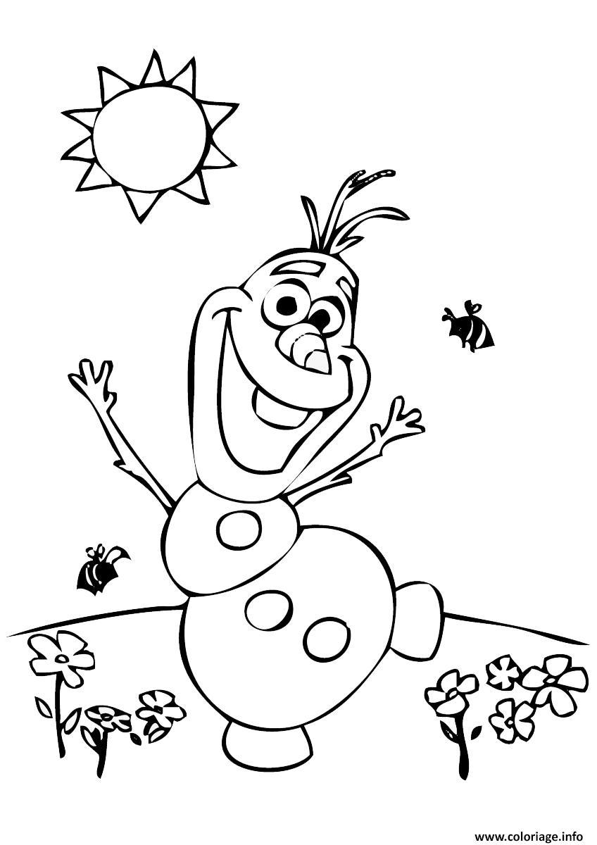 olaf au soleil avec des fleurs et abeilles coloriage dessin