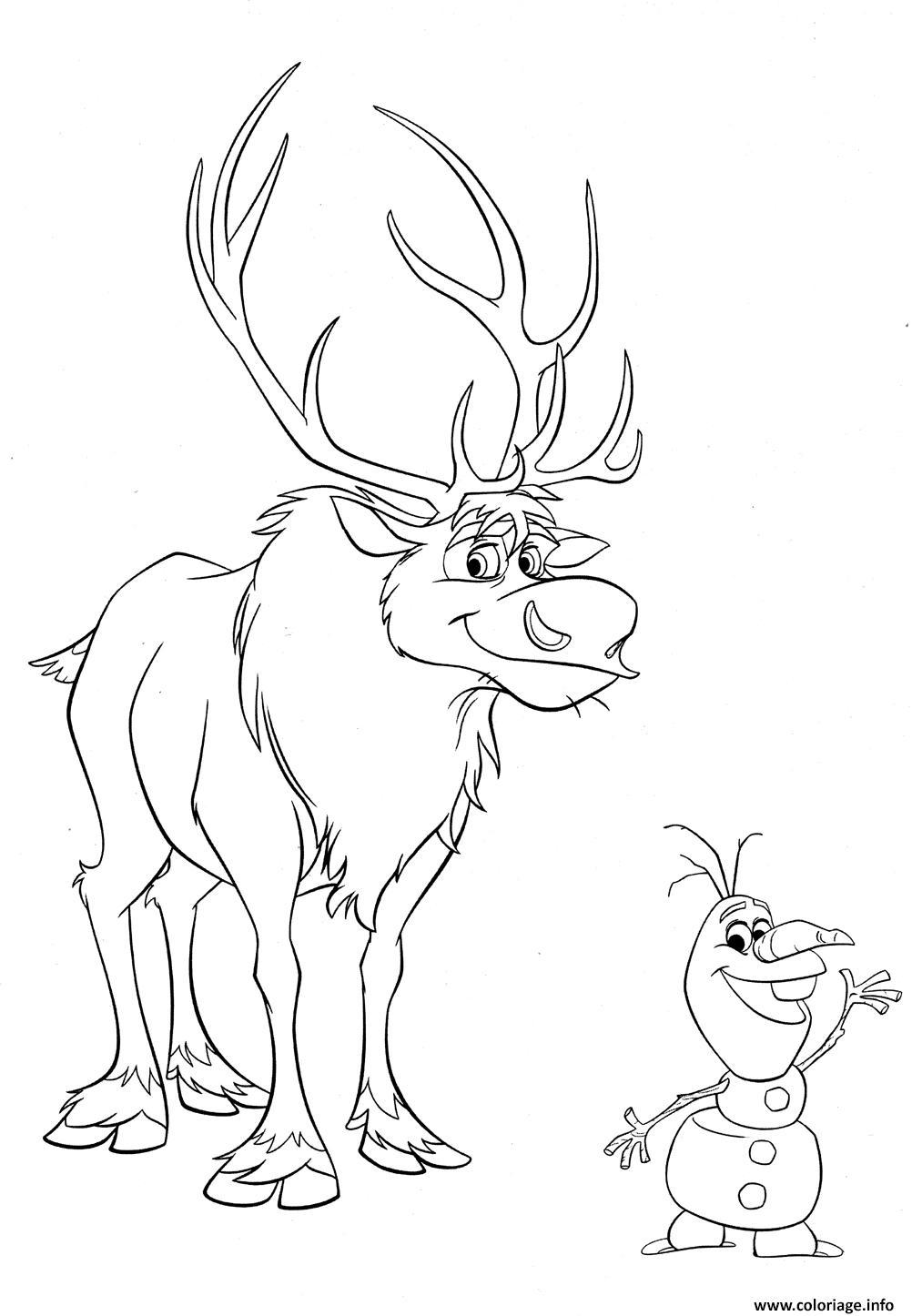 Coloriage Sven Et Olaf De La Reine Des Neiges Disney Dessin