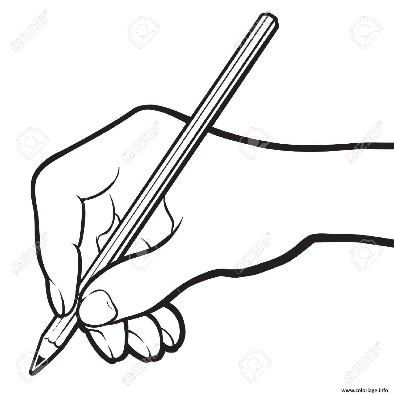Dessin main avec un crayon Coloriage Gratuit à Imprimer