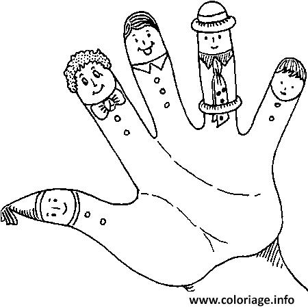Coloriage main enfants avec doigts humour drole dessin - Dessin main enfant ...
