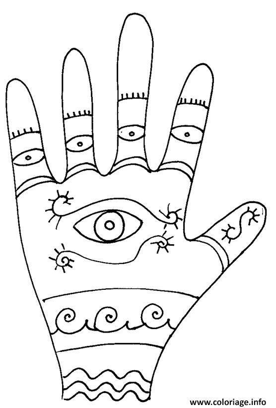 Dessin main mandala Coloriage Gratuit à Imprimer
