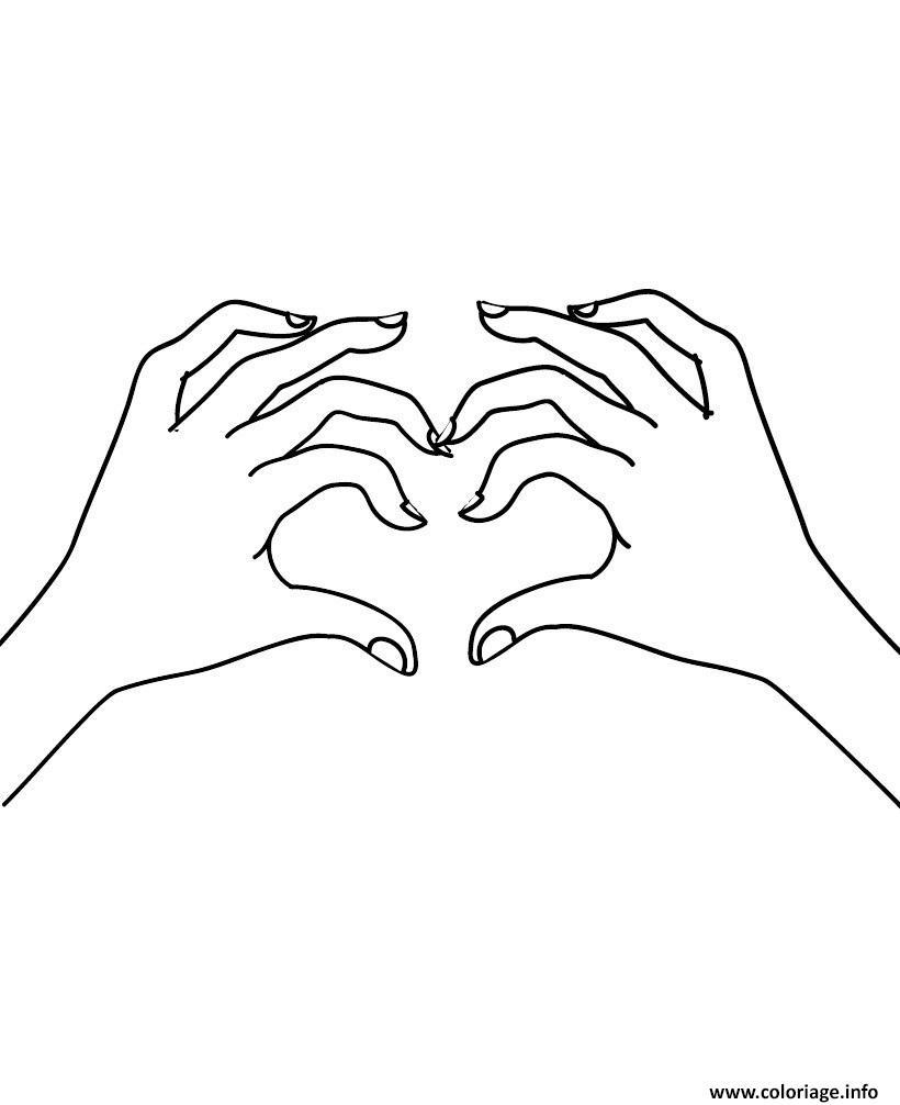Coloriage deux mains en forme de coeur - Dessin de mains ...