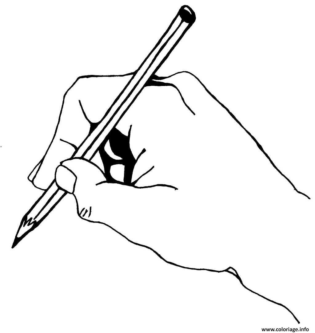 Coloriage main dessinant avec un crayon - Main en dessin ...