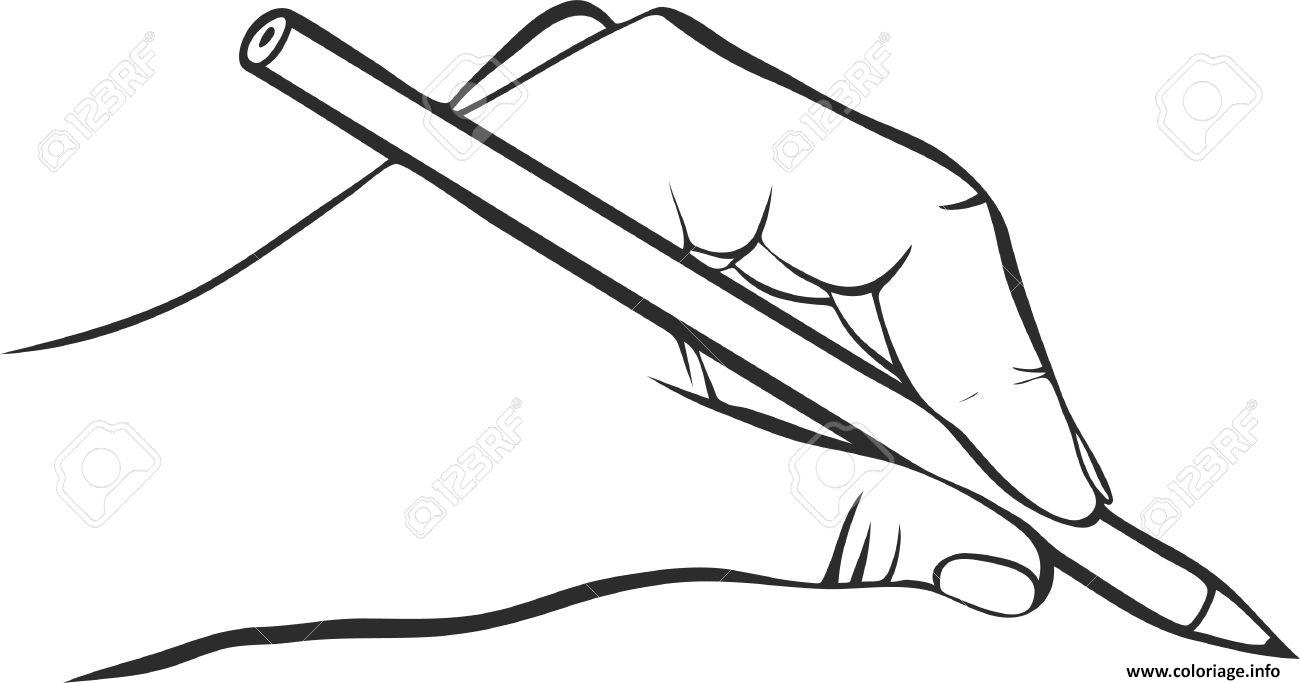 Coloriage main qui dessine avec un crayon hd - Dessin de mains ...