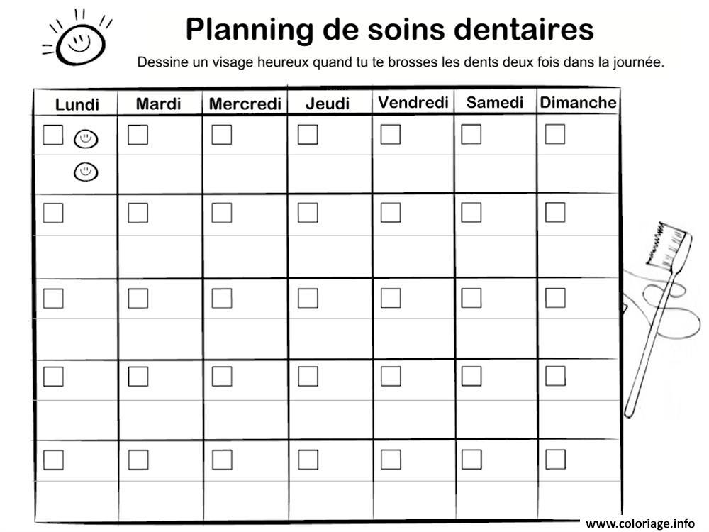 Dessin calendrier planning soins dentaires dents dentiste Coloriage Gratuit à Imprimer