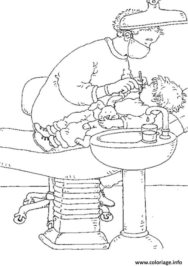 Dessin dentiste prend soin dun enfant Coloriage Gratuit à Imprimer