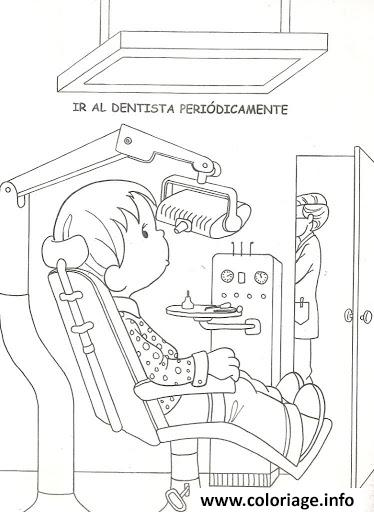 Dessin enfant chez le dentiste Coloriage Gratuit à Imprimer