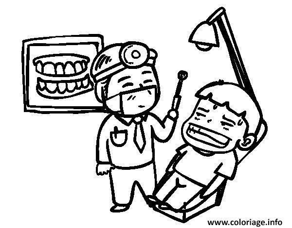 Dessin un dentiste et son patient pas tres content Coloriage Gratuit à Imprimer