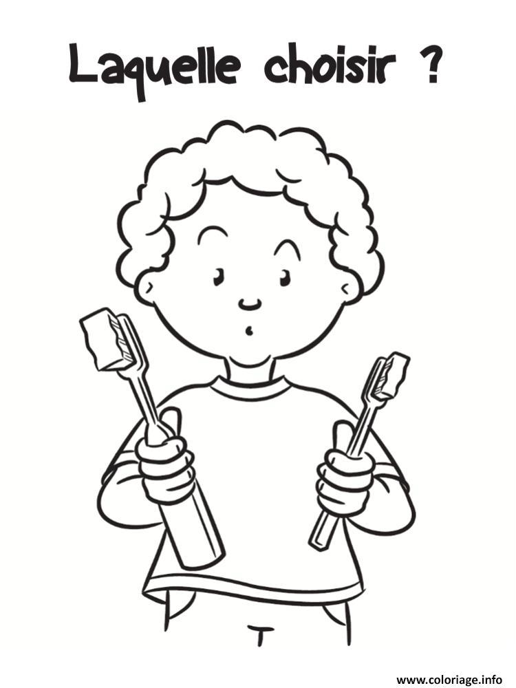 Dessin laquelle choisir entre les brosses a dents Coloriage Gratuit à Imprimer