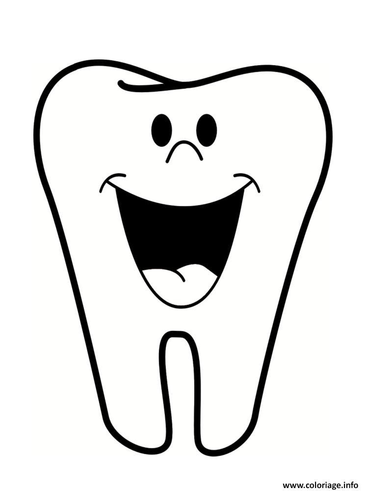 Dessin une dent Coloriage Gratuit à Imprimer