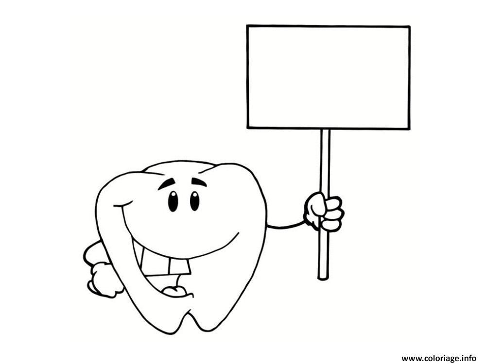 Dessin dent et panneau Coloriage Gratuit à Imprimer