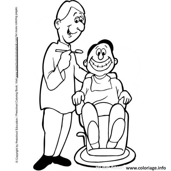 Dessin un dentiste et son patient Coloriage Gratuit à Imprimer