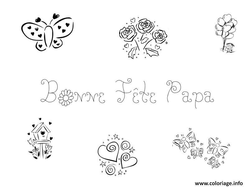 Coloriage bonne fete papa fetes des peres plusieurs dessins coeurs dessin - Dessin fetes des peres ...