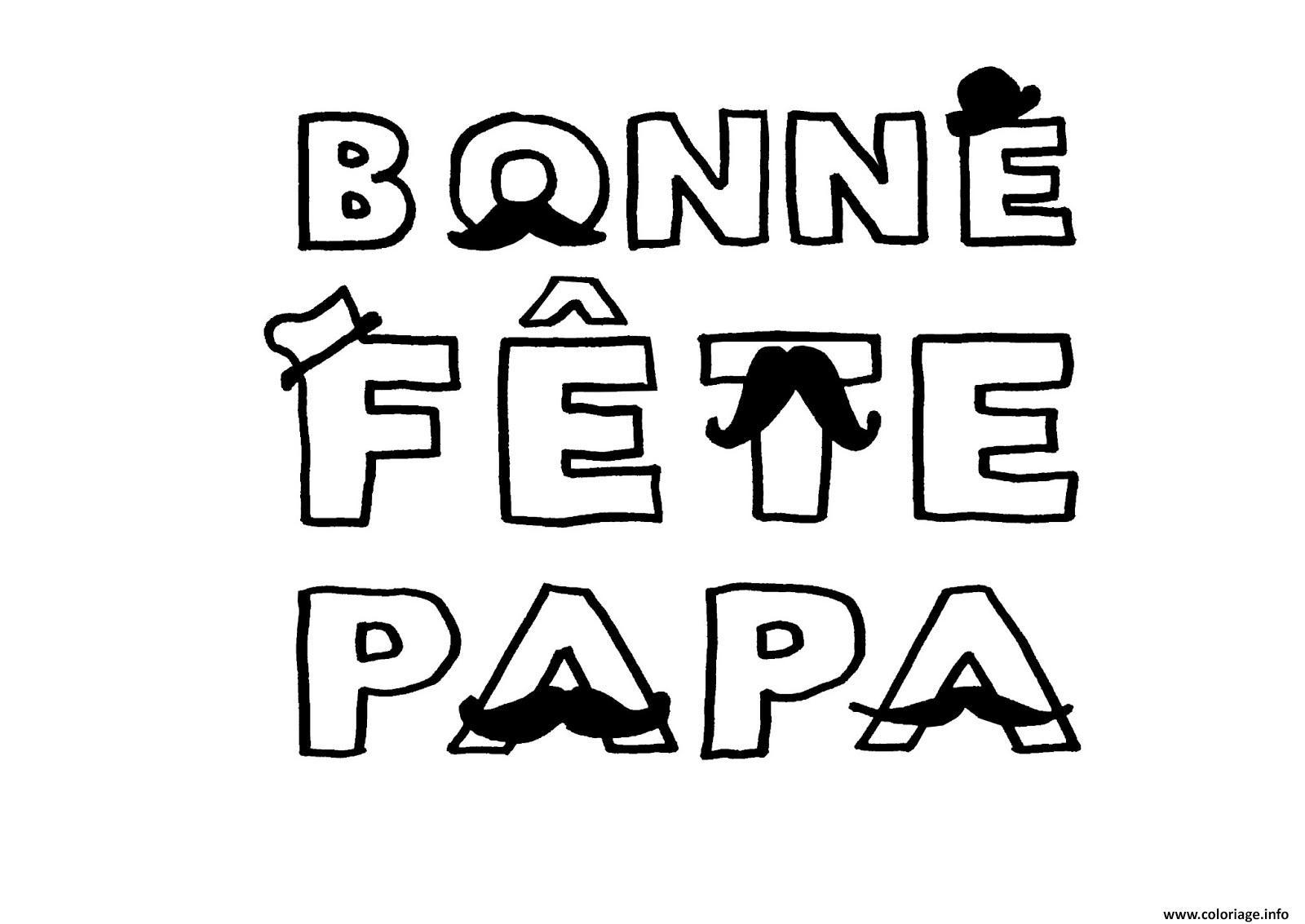 Coloriage bonne fete papa avec moustaches dessin - Coloriage bonne fete papa a imprimer ...