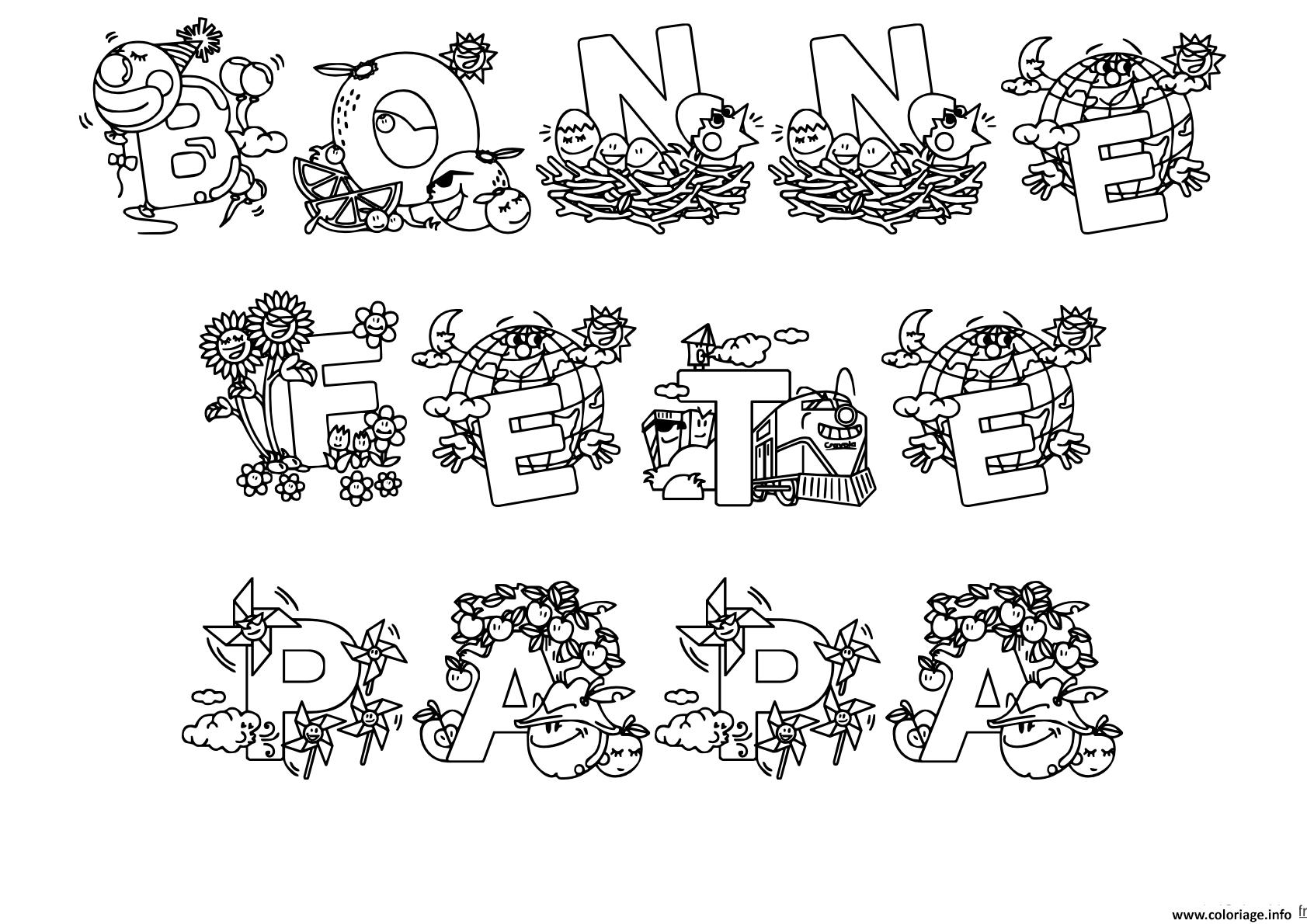 Coloriage bonne fete papa divers dessins mandala