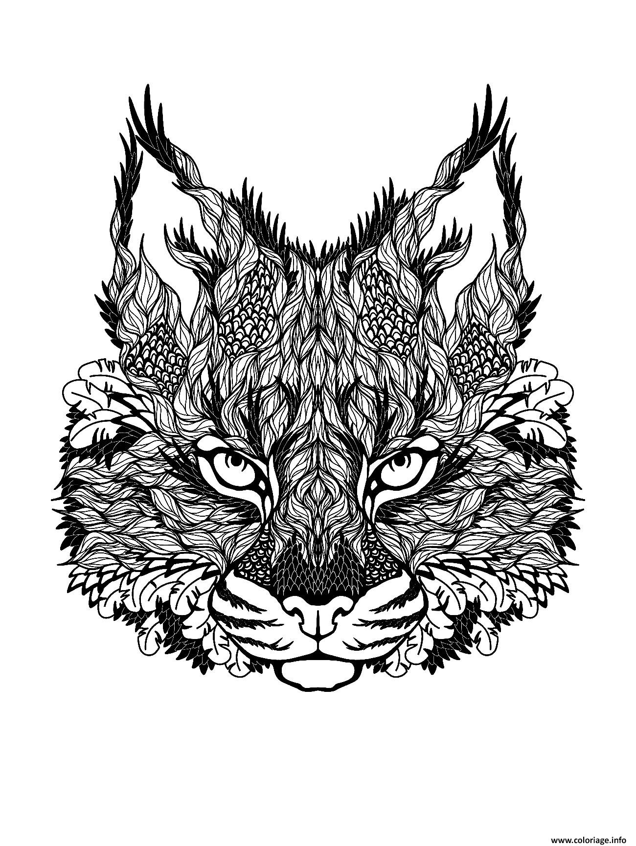Coloriage dessin difficile adulte loup zen dessin - Chat a colorier adulte ...