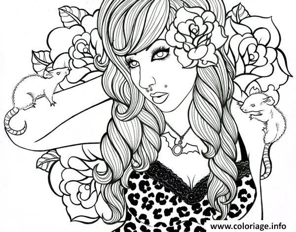 Coloriage Adulte Femme Roses Rats Punk Jecolorie Com