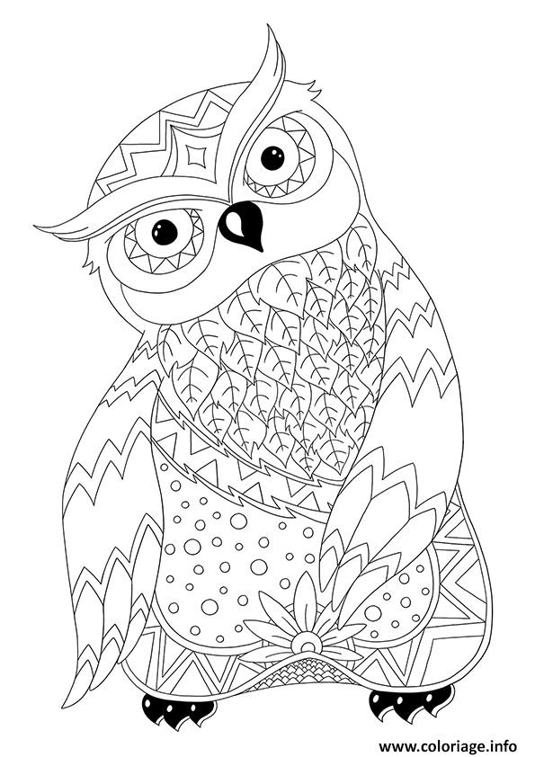 coloriage magnifique hibou chouette adulte animaux par dinett. Black Bedroom Furniture Sets. Home Design Ideas