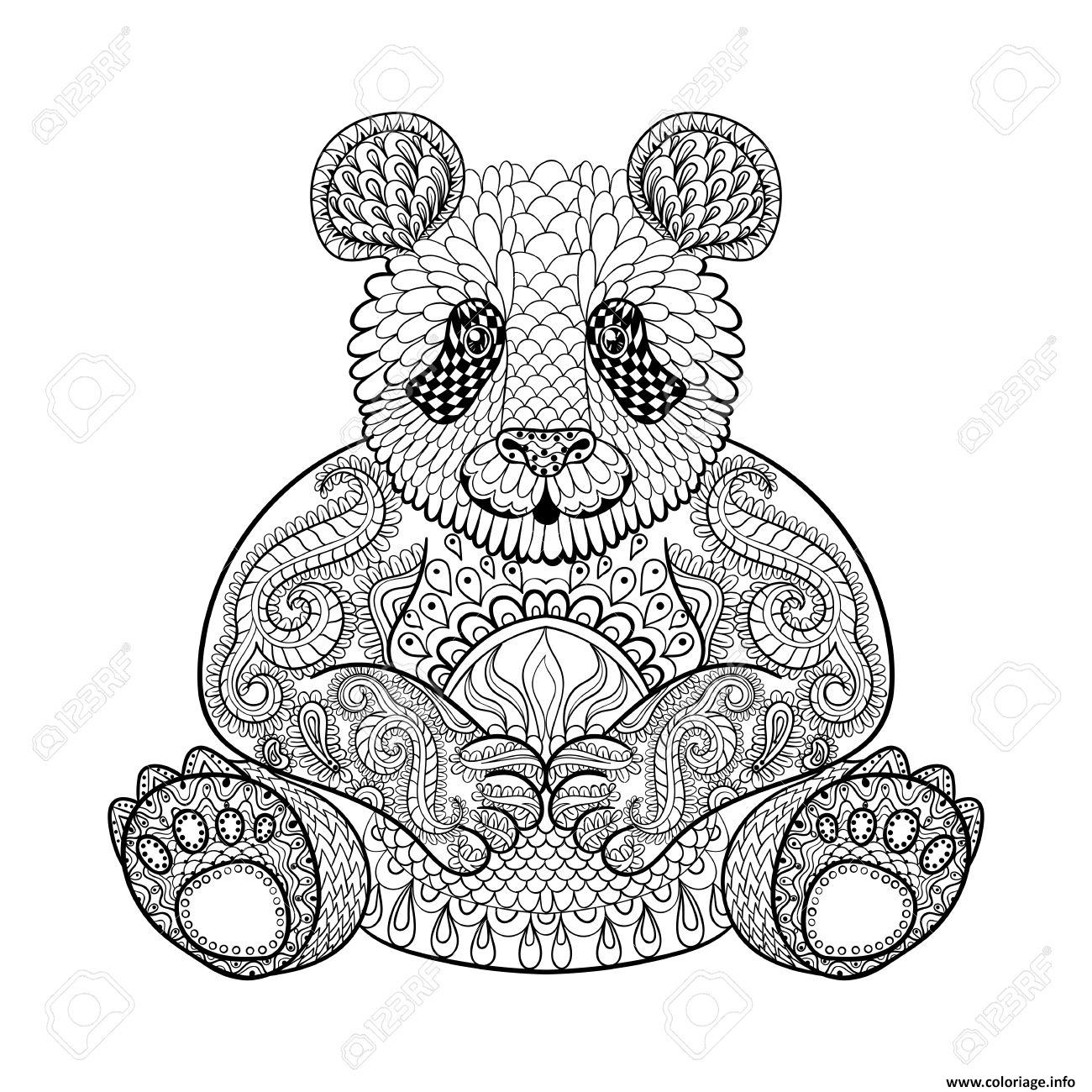 Coloriage panda adulte animaux zentangle difficile dessin - Coloriage a imprimer panda ...
