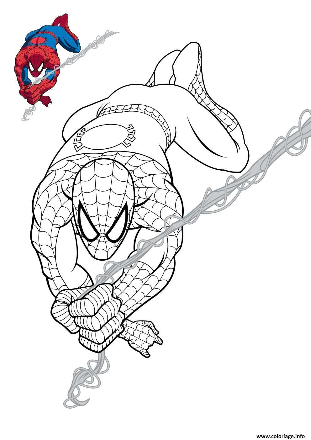 spiderman en plein action coloriage dessin