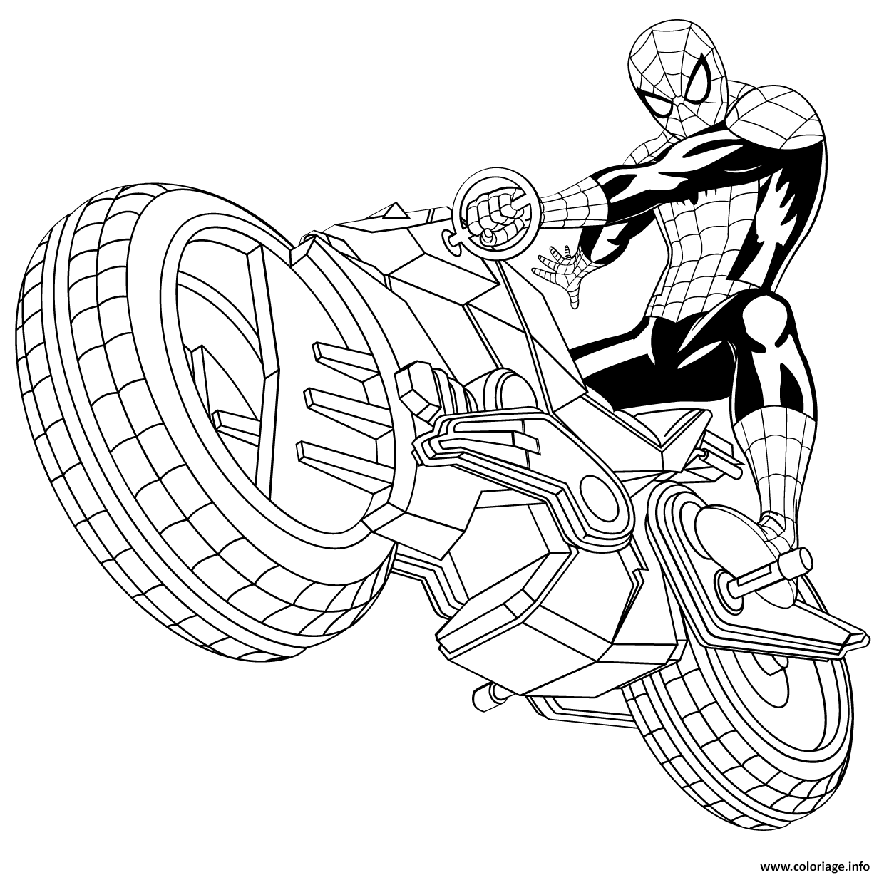 coloriage spiderman avec sa spider moto auto tres rapide. Black Bedroom Furniture Sets. Home Design Ideas