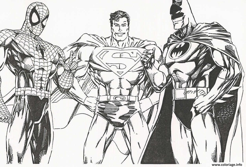 Coloriage Spiderman Batman Superman Rencontre De Heros Jecolorie Com