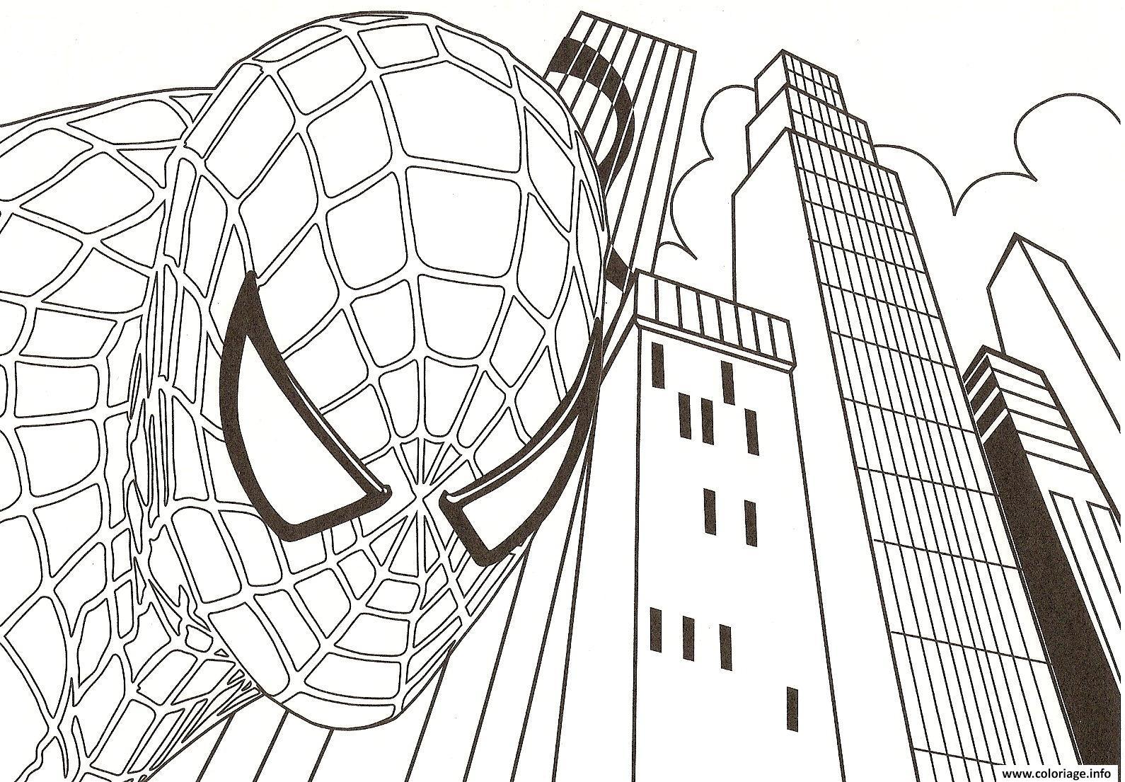 Coloriage spiderman dans la ville dessin - Coloriage en ligne spiderman ...