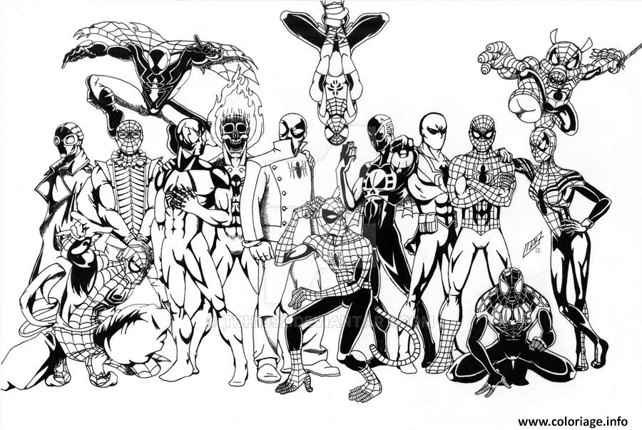 Coloriage the amazing spiderman divers versions de spider - Coloriage divers a imprimer ...