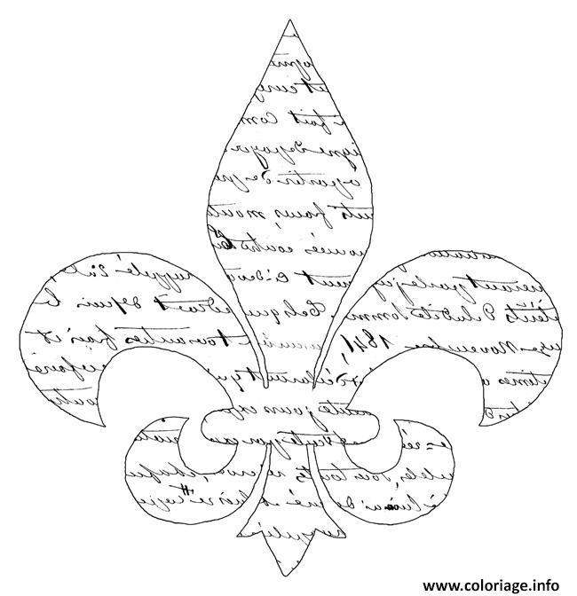 Dessin fleur de lis avec ecrire ancenne Coloriage Gratuit à Imprimer