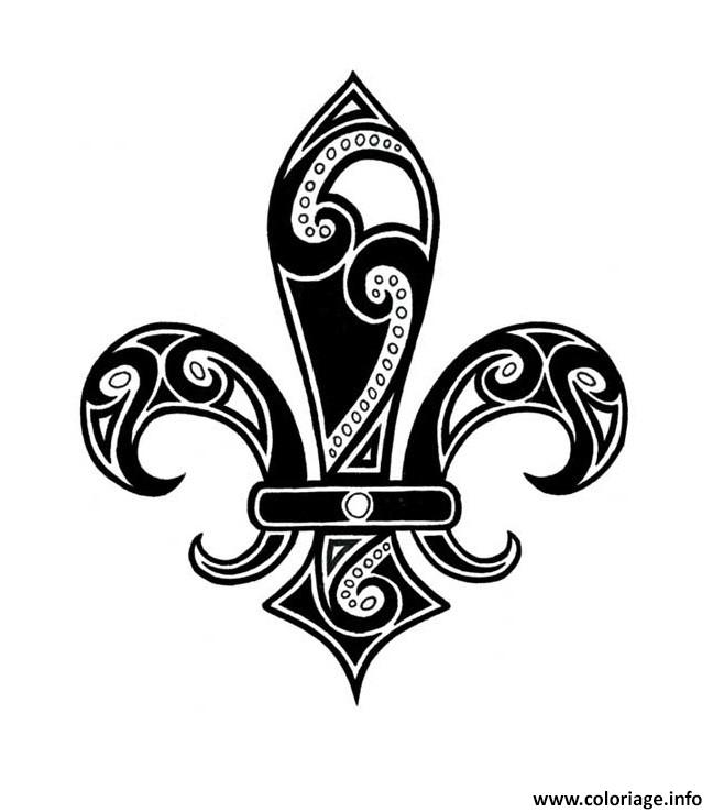 Dessin Black Ink Tribal Fleur De Lis Tattoo Design Idea Coloriage Gratuit à Imprimer