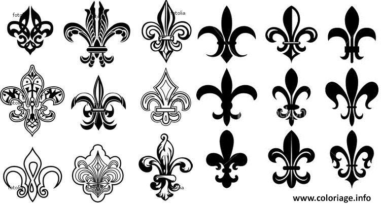 Dessin fleur de lis france louisiana quebec gothic traditional art deco Coloriage Gratuit à Imprimer