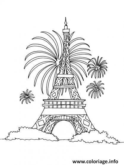 Dessin fete nationale 14 juillet france tour eiffel Coloriage Gratuit à Imprimer