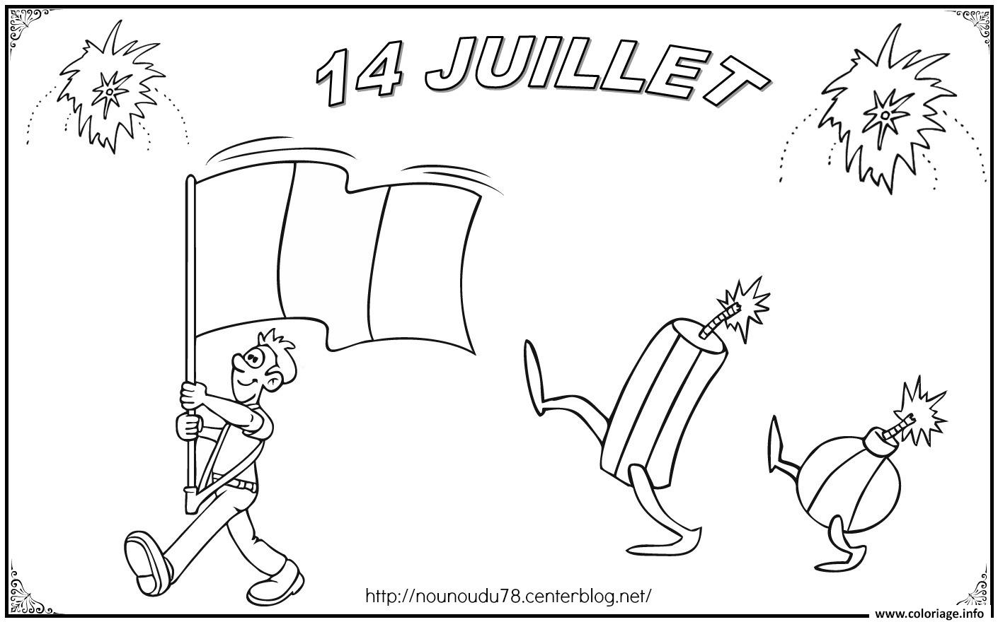 Coloriage 14 Juillet Fete Nationale France Dessin à Imprimer
