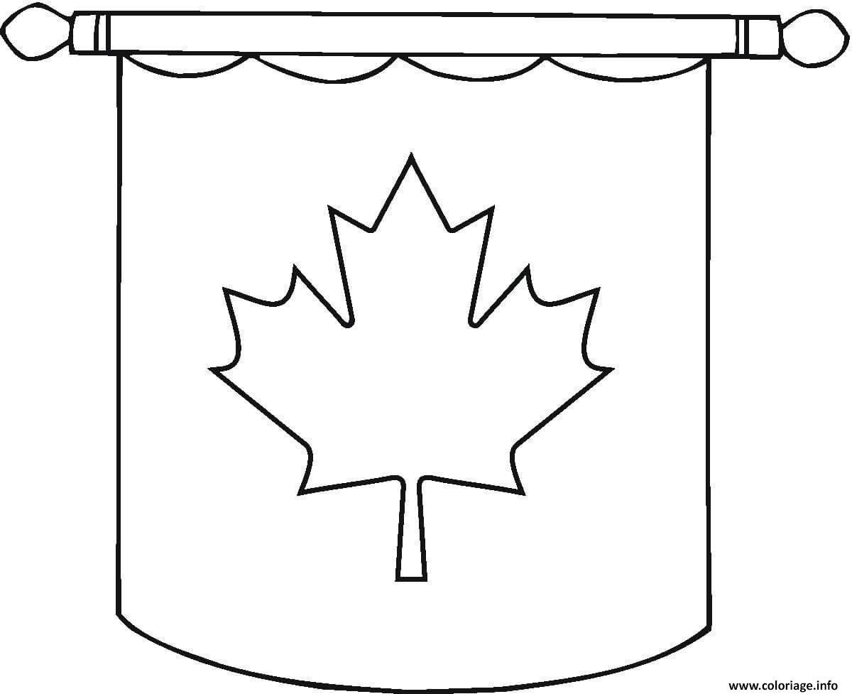Dessin drapeau canada Hanging flag Coloriage Gratuit à Imprimer