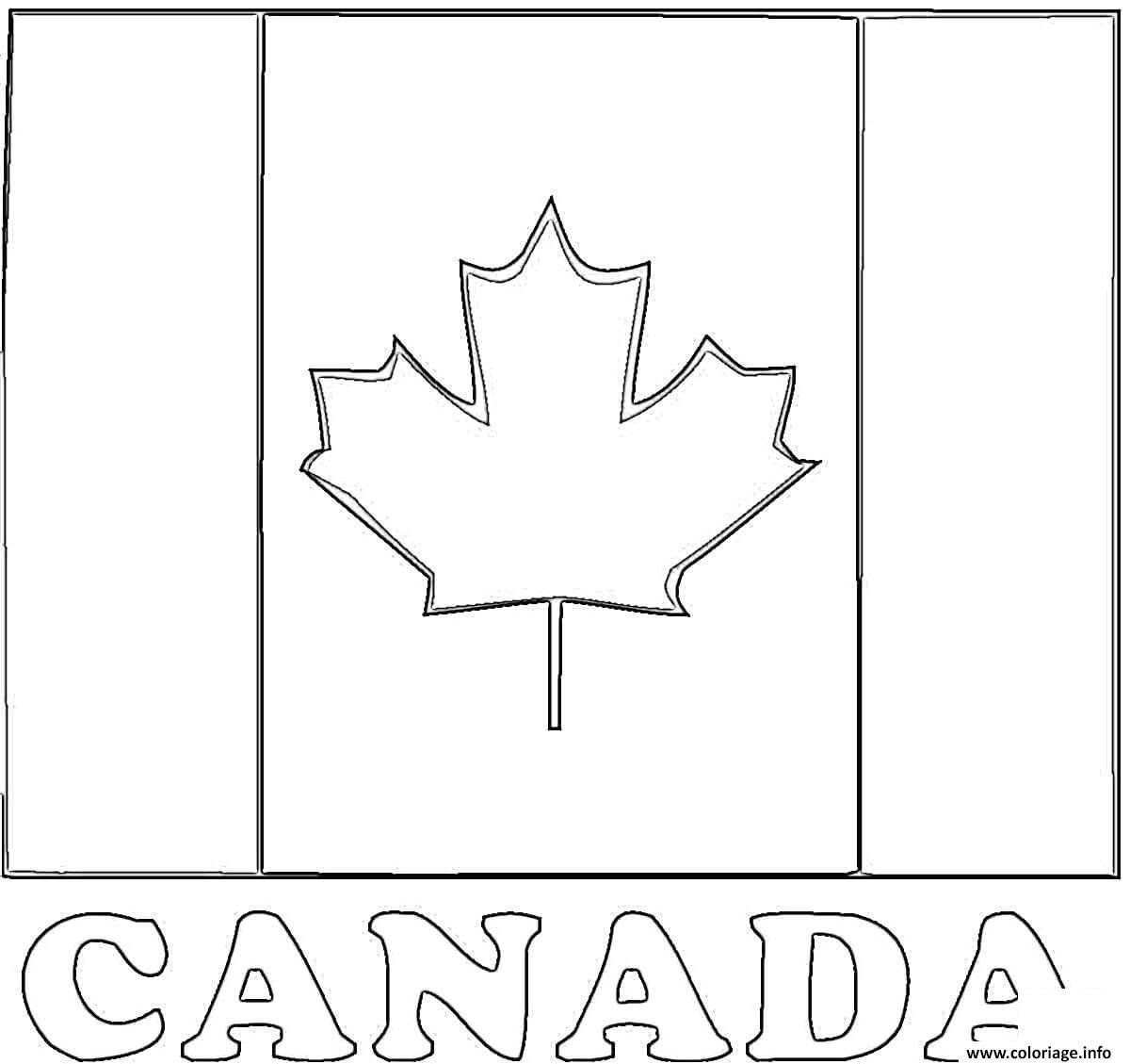 Dessin fete nationale drapeau du canada flag Coloriage Gratuit à Imprimer