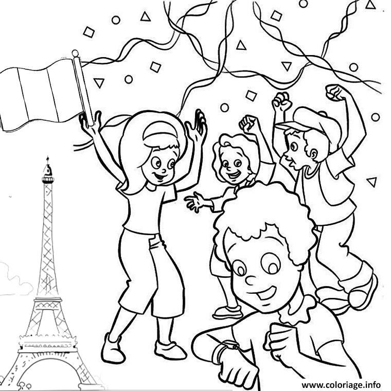 Dessin 14 juillet france fete national Coloriage Gratuit à Imprimer