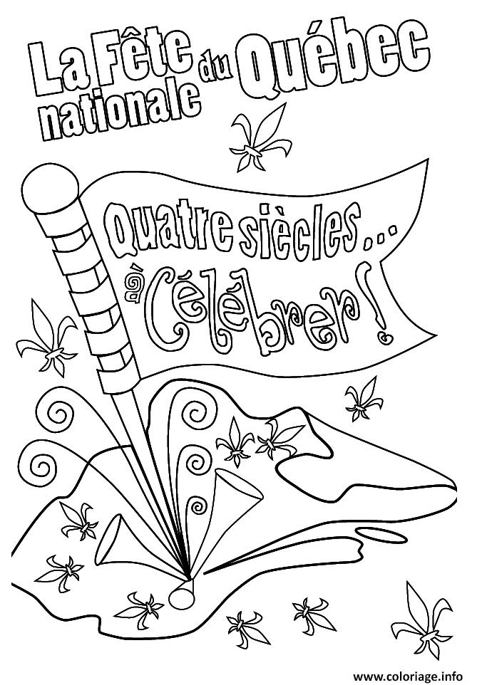 Dessin la fete nationale du quebec celebrer quatre siecles Coloriage Gratuit à Imprimer