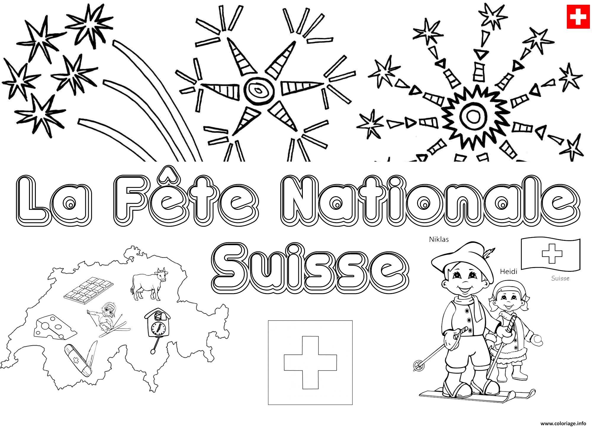 Coloriage Fete Nationale Suisse 1 Aout Jecoloriecom