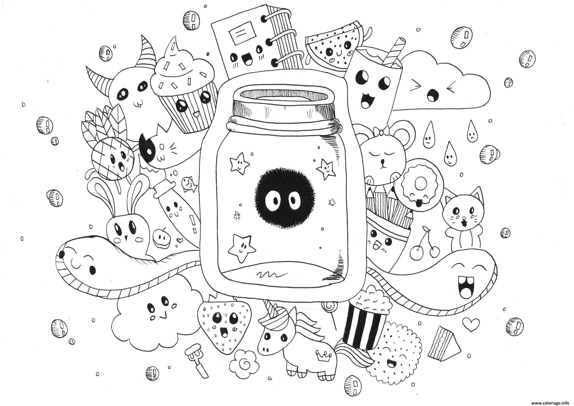 Coloriage Manga Adulte Kawaii Doodle Rachel Dessin