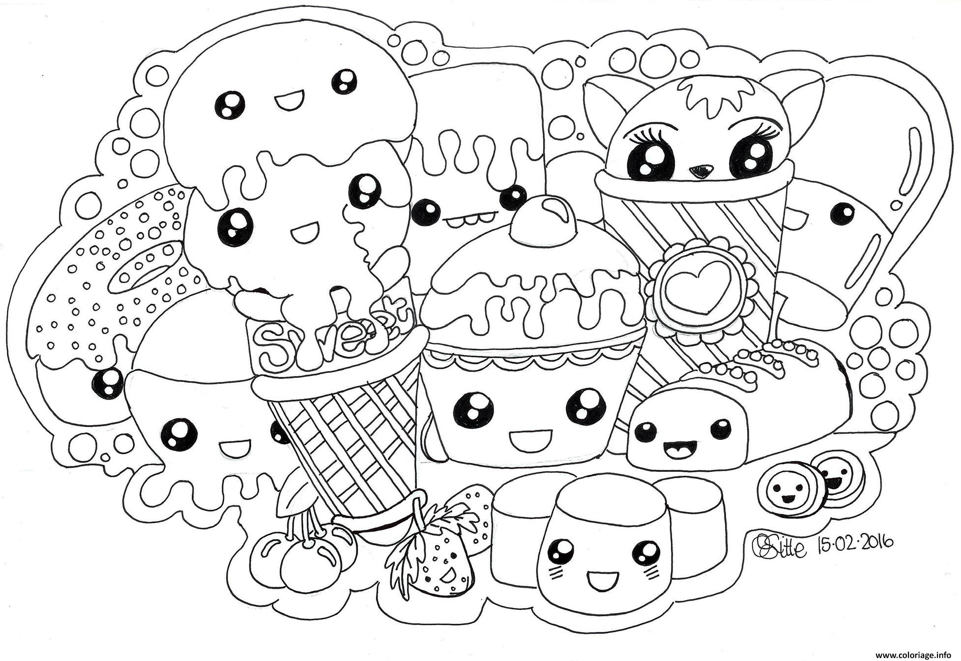 Coloriage Kawaii Sweets Colour Manga Cute Dessin
