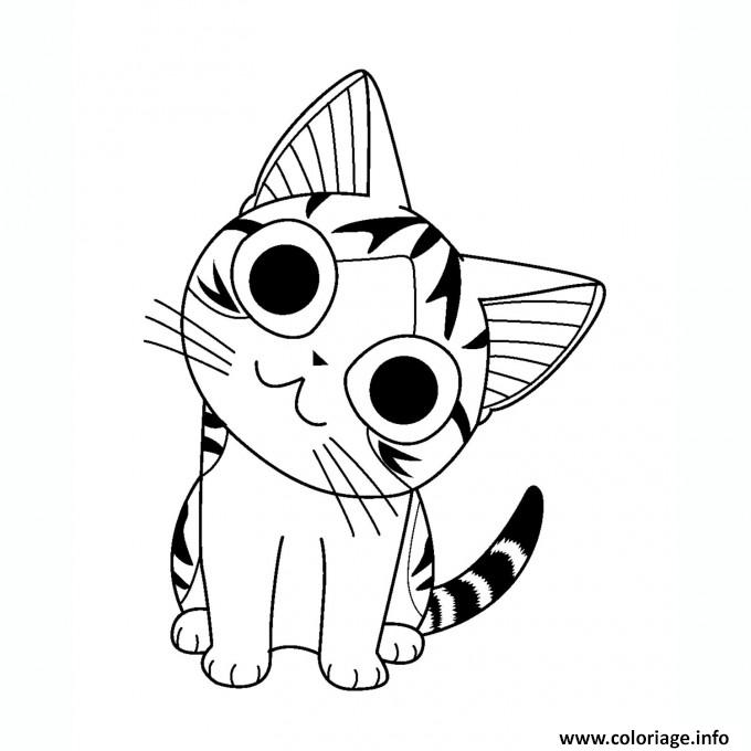 Coloriage chat chi fait un sourire dessin - Dessin a colorier un chat ...