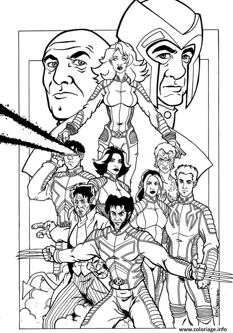 Coloriage X Men Xmens Toute Lequipe Dessin X-men à imprimer
