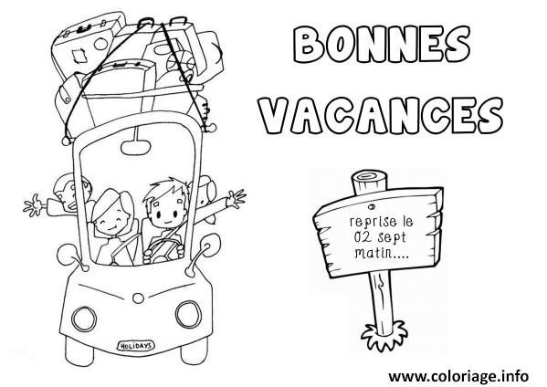 Coloriage bonnes vacances ete dessin - Coloriage vive les vacances ...