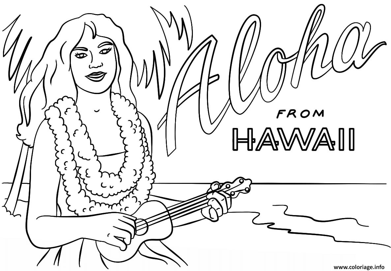Coloriage hawaienne fille avec ukulele danseuse vacance ete - Coloriage hawaienne ...