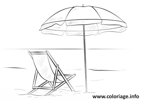 Dessin Parasol coloriage parasol avec chaise de plage vacance ete - jecolorie