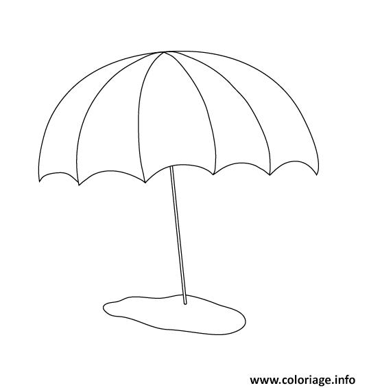 coloriage parasol de plage vacance dessin