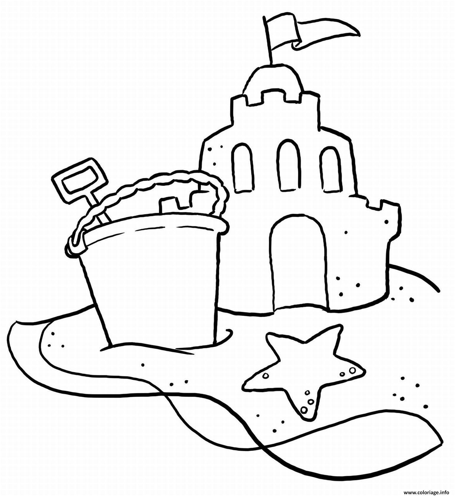Coloriage chateau de sable vacance ete dessin - Coloriage ete ...