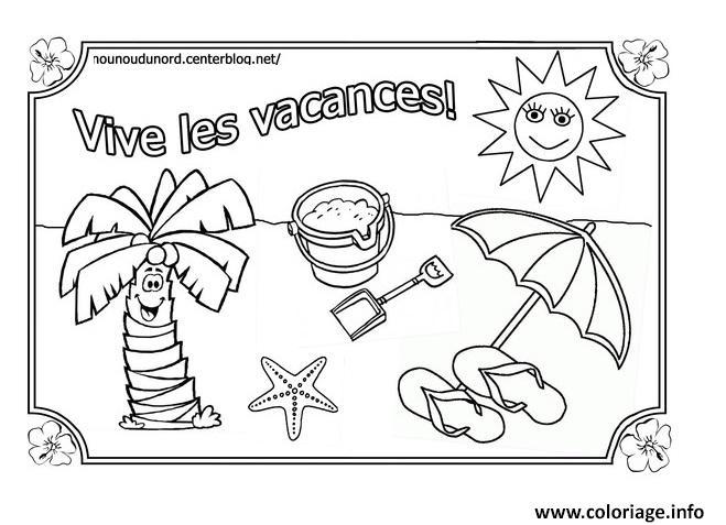 Coloriage Vacances Ete Vive Les Vacances Ete Dessin