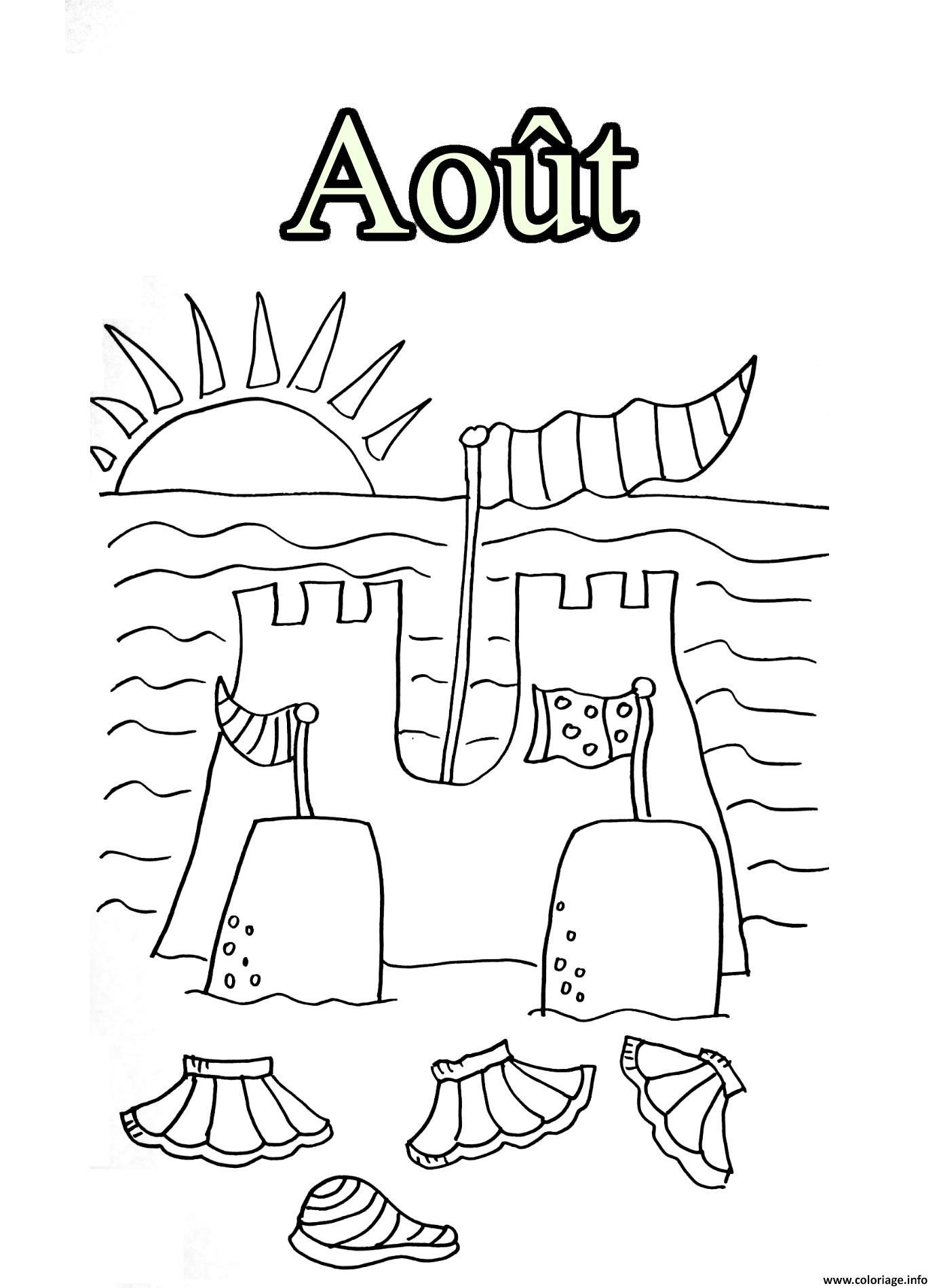Coloriage aout vacance chateau de sable avec soleil ete - Dessin de soleil a imprimer ...