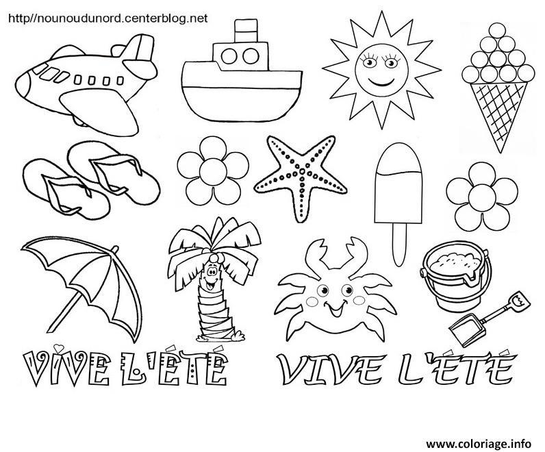 Coloriage Vive Lete Bonne Vacances Ete dessin